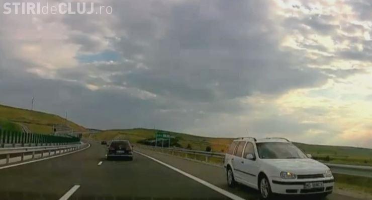 Șoferi prins mergând pe contrasens pe Autostrada A3, Aiud-Turda VIDEO