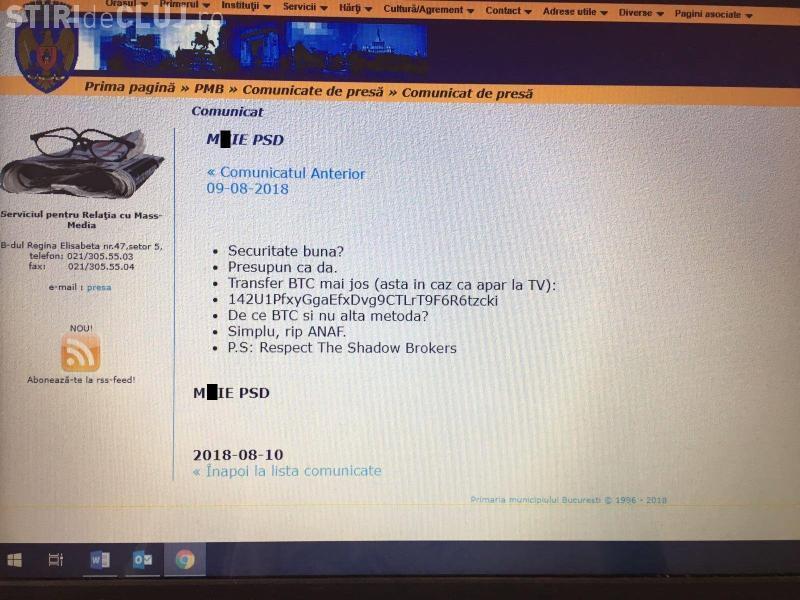 Hackerii au spart site-ul Primăriei Municipiului București și au postat celebrul slogan anti-PSD