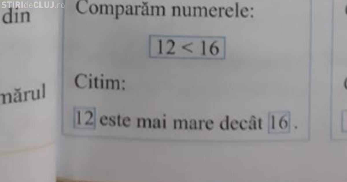 Liviu Pop, despre greșeala din manualul de matematică: 12 s-ar putea să fie mai mare decât 16
