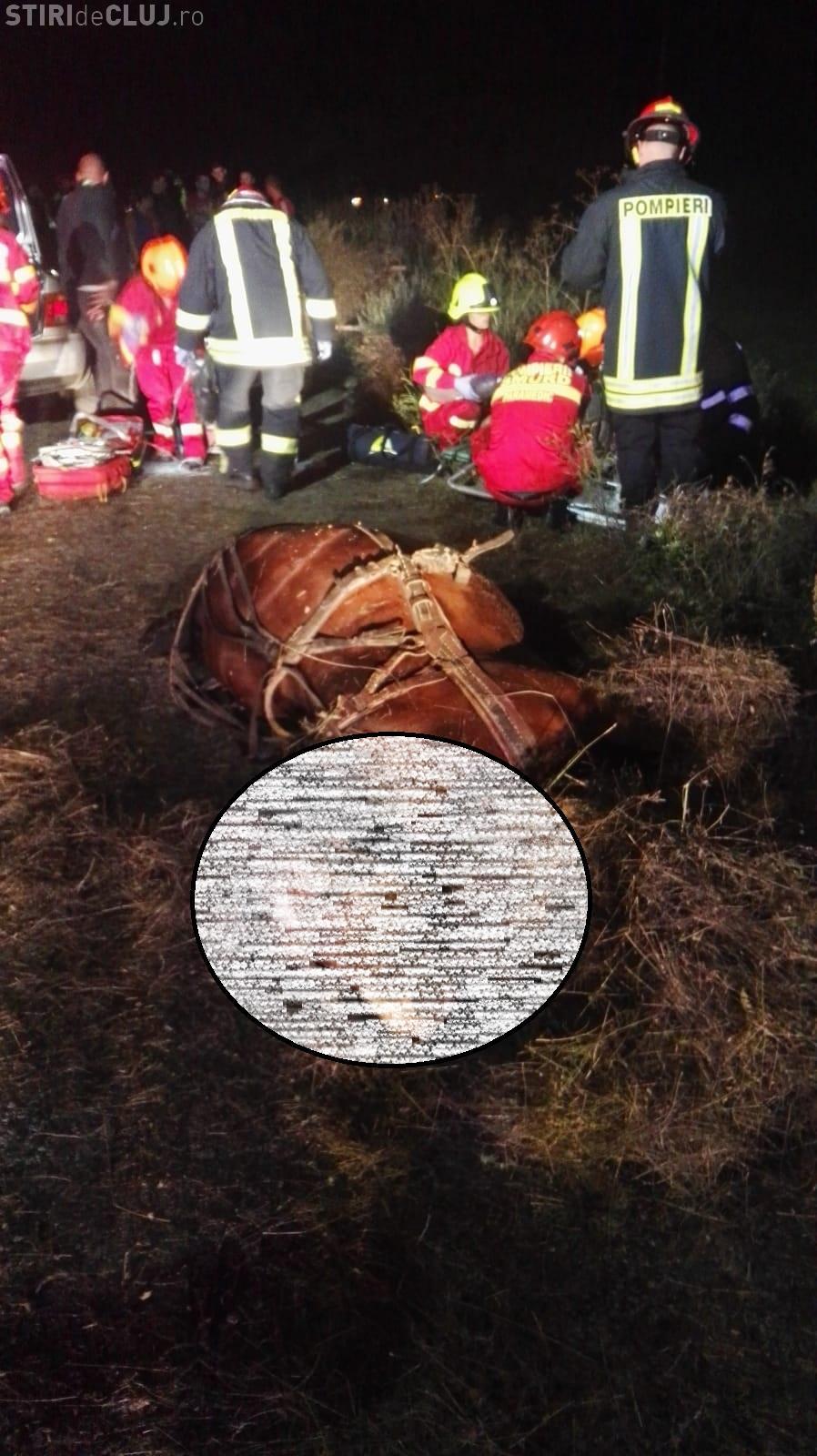 Accident mortal în Chinteni! Căruțaș care circula pe contrasens lovit mortal - FOTO