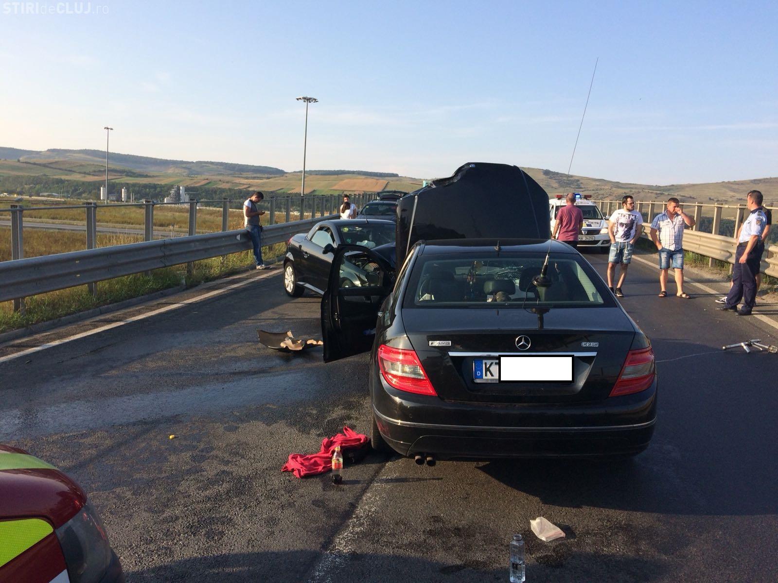 Accident pe breteaua de coborâre de pe Autostrada Transilvania, la Gilău - FOTO