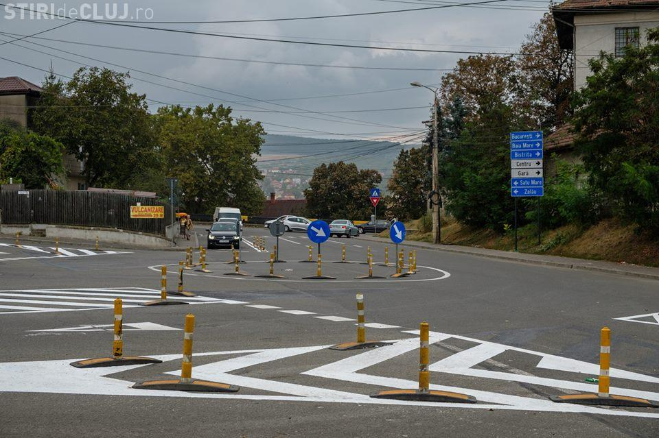A apărut un nou sens giratoriu la Cluj, în cartierul Gruia FOTO