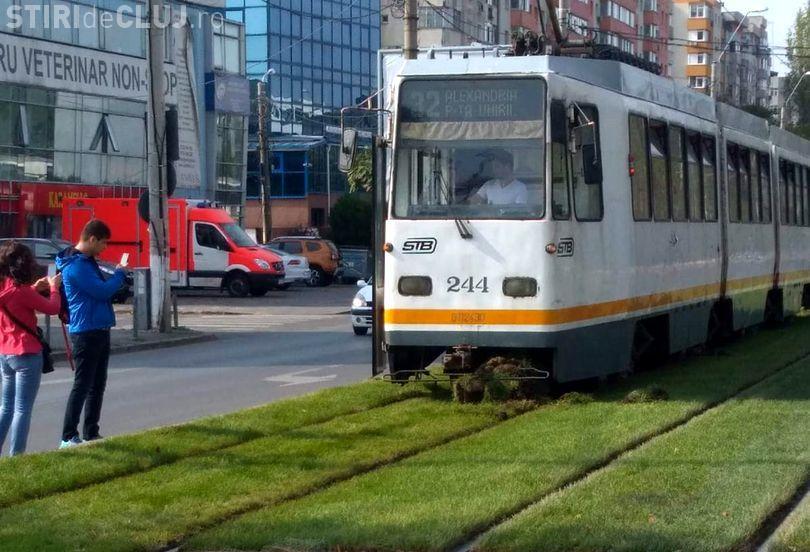 """În Sectorul 5 din București s-a pus gazon între șinele de tramvai: """"Ajută la calmarea psihicului uman!"""""""
