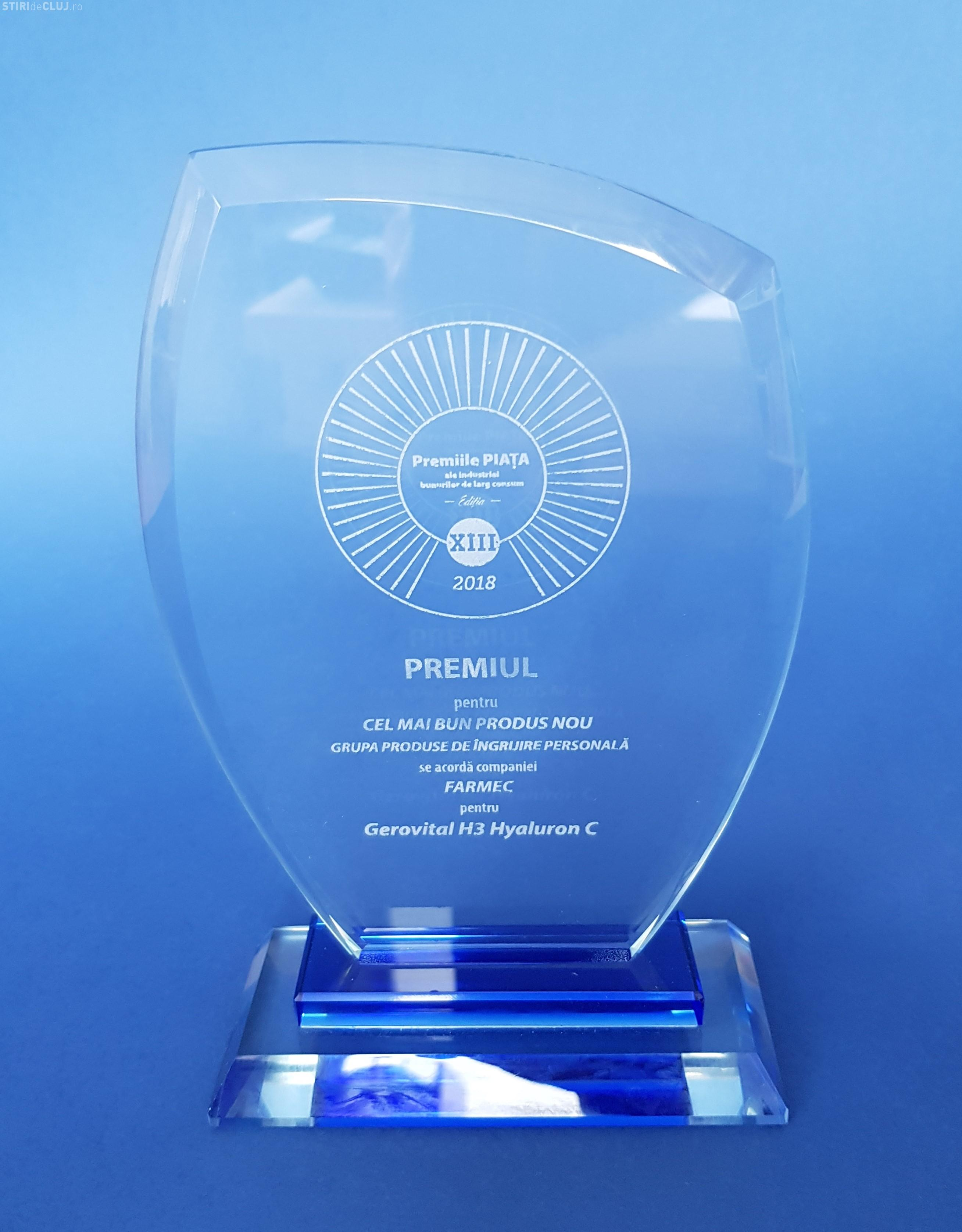 """Pentru al doilea an consecutiv, Farmec obține titlul de """"Cel mai bun produs nou"""" pentru Gerovital H3 Hyaluron C (P)"""
