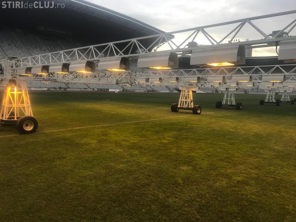 Gazonul de pe Cluj Arena, ajutat să crească mai repede cu o instalație de 350 de mii de EURO