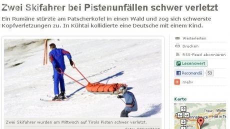 Accidentul lui Serban Huidu, relatat in ziarul austriac Tiroler Tageszeitung