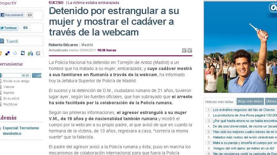 Un roman din Spania si-a ucis sotia insarcinata si a aratat cadavrul pe internet rudelor!