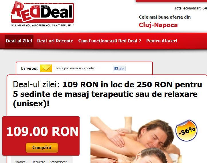 Deal-ul zilei:  Cinci sedinte de masaj terapeutic sau de relaxare cu 109 lei, in loc de 250 lei (P)