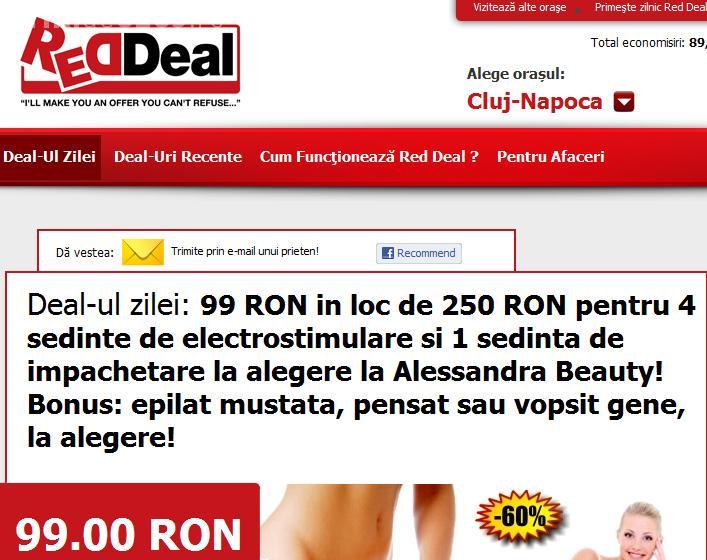 99 lei in loc de 250 lei pentru 4 sedinte de electrostimulare si 1 sedinta de impachetare la Alessandra Beauty! (P)
