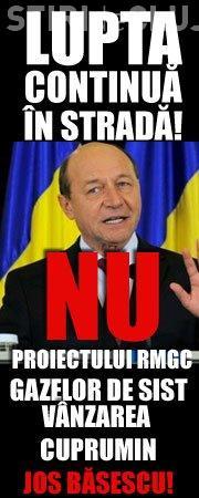 Protest Rosia Montana la Cluj: Ii scoatem lui Basescu aurul, cuprul si gazele din cap