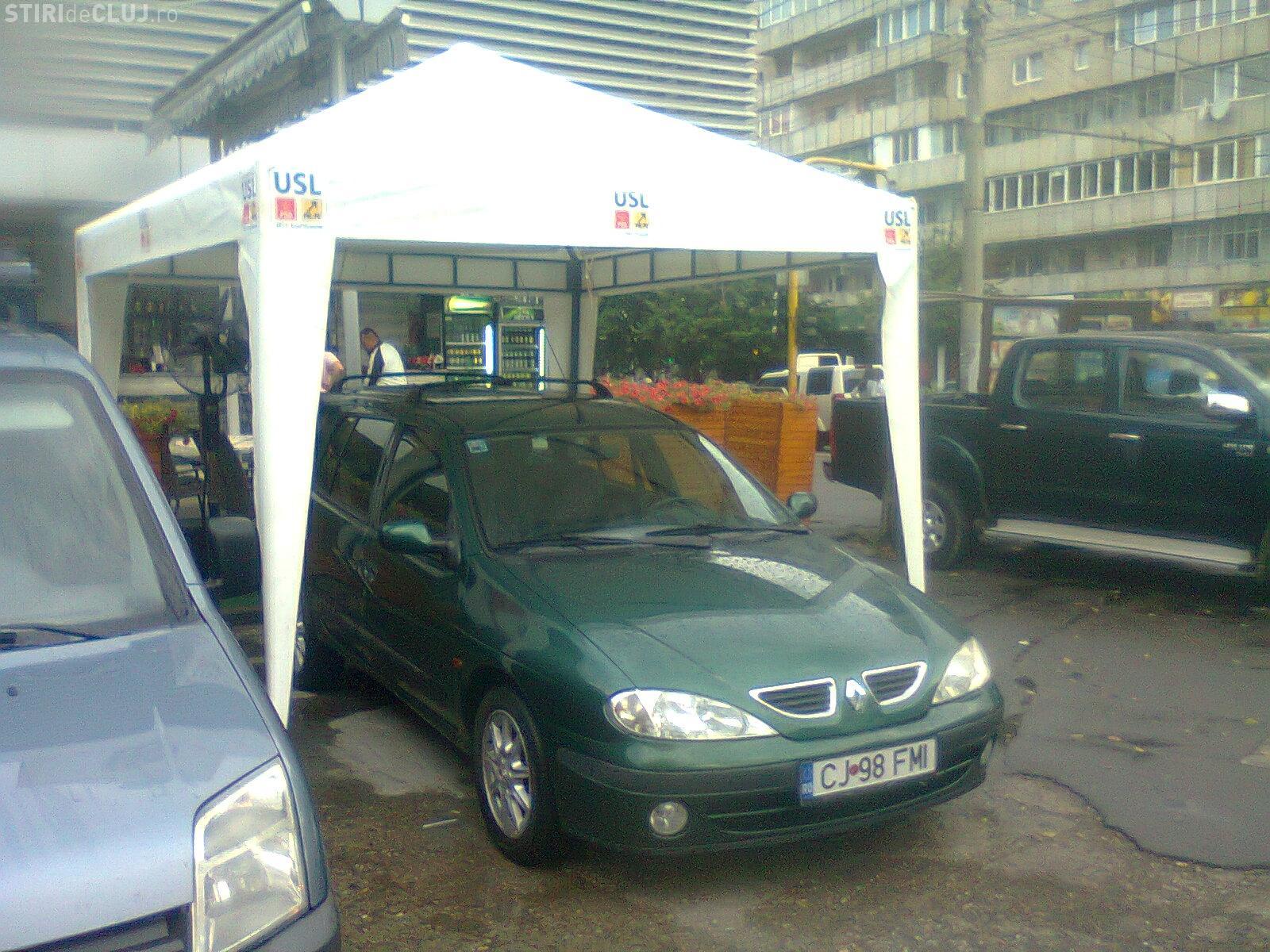 Și-a parcat mașina în cortul electoral al USL FOTO