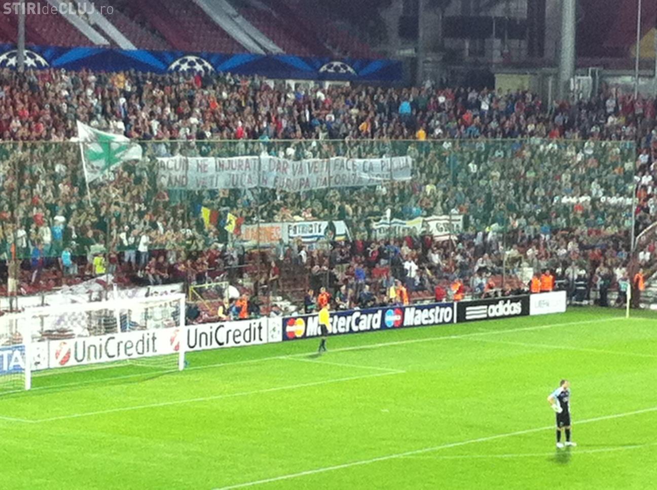 Banner al suporterilor CFR adresat lui Becali și Stelei: O să jucați în Europa datorită nouă - FOTO