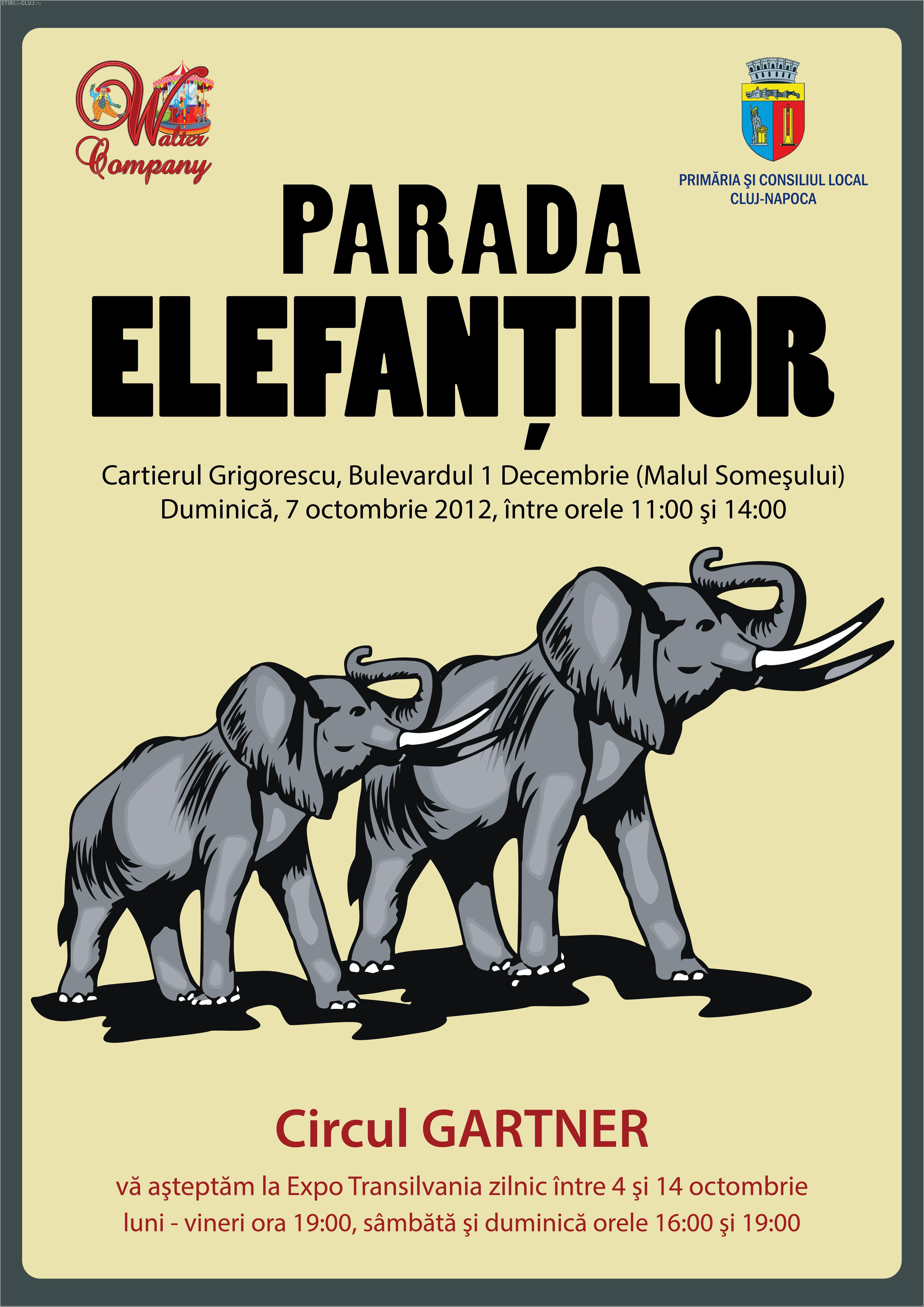 Parada elefanților la Cluj. VEZI traseul