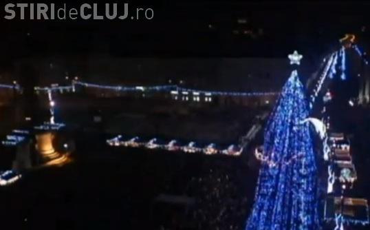 Timelaps cu seara de 1 Decembrie, filmat din Piața Unirii. Cum s-au aprins luminile de Crăciun - VIDEO