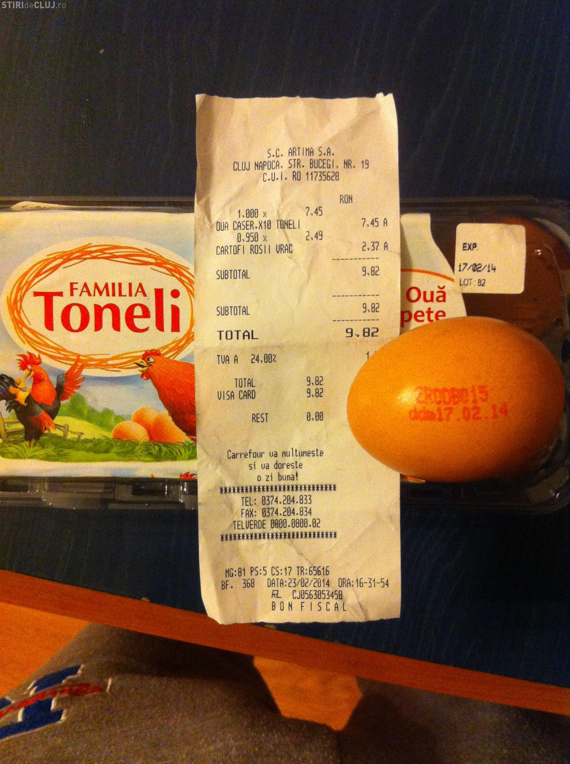 Ouă expirate la Carrefour Cluj - FOTO