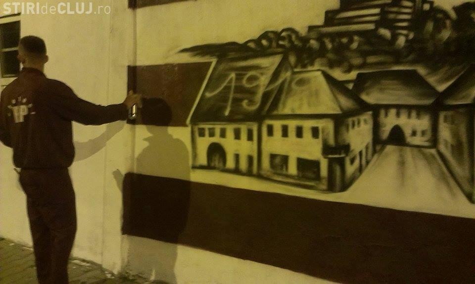 Suporterii CFR Cluj au realizat un SUPERB grafitti, iar cei de la U Cluj l-au DISTRUS - FOTO