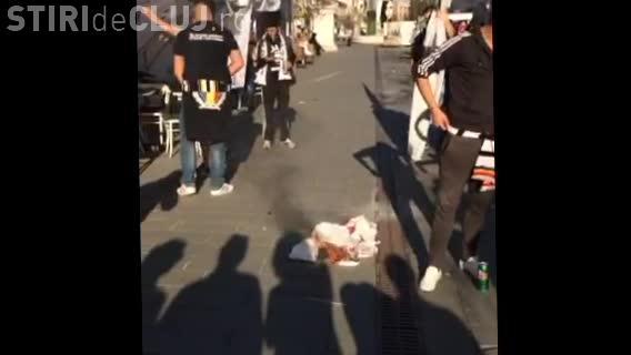 Suporterii U Cluj au aprins steagul CFR Cluj - VIDEO