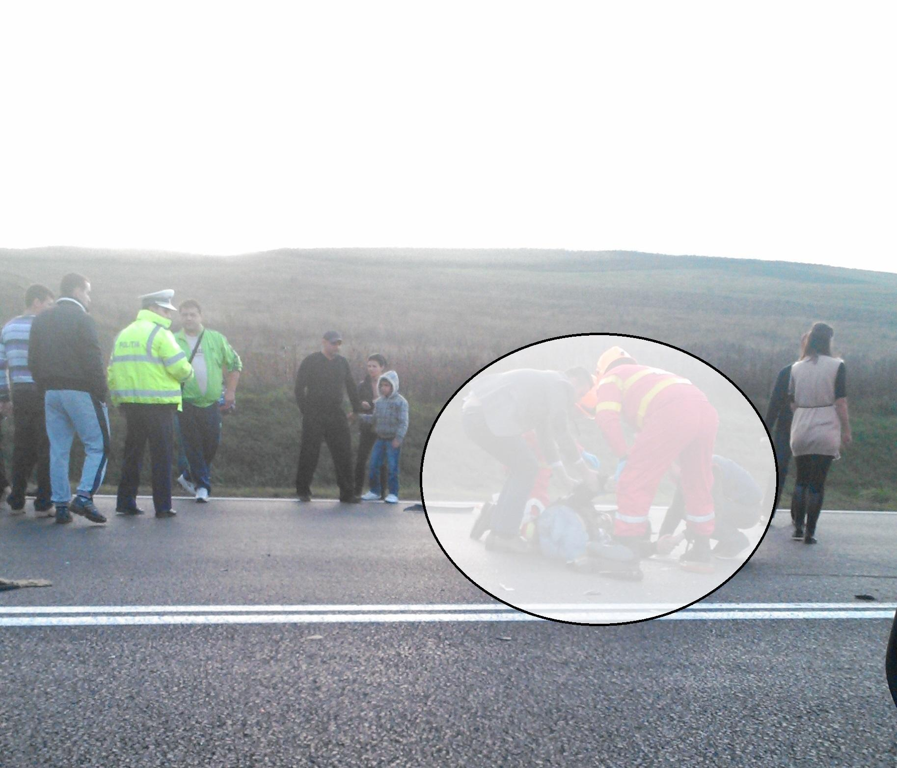 Accident TERIBIL la Tureni! Un pieton a fost proiectat câțiva metri în aer de un șofer kamikaze