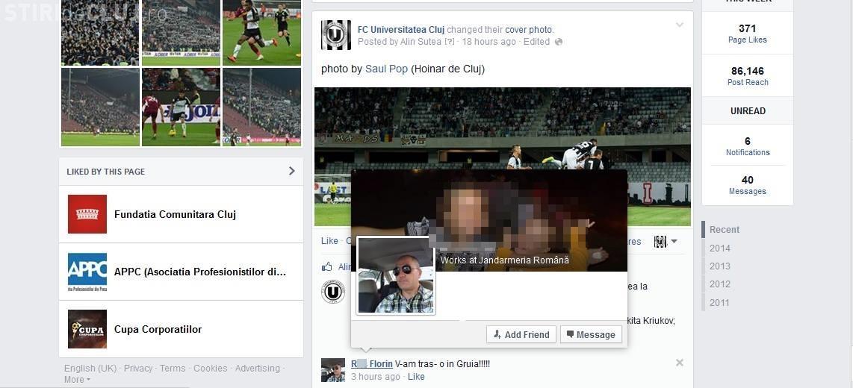"""Un jandarm a scris pe pagina U Cluj: """"V-am tras-o în Gruia!!!!"""""""