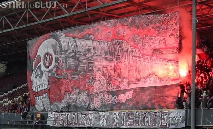 Fanii CFR Cluj au avut o coregrafie specială la meciul cu U Cluj - VIDEO