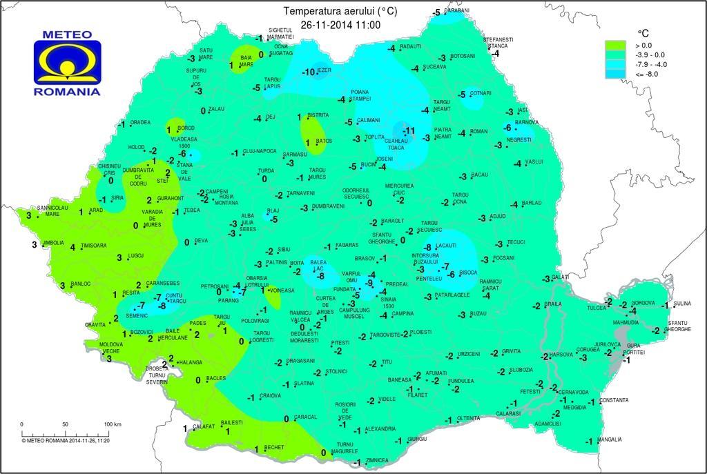 Harta frigului din județul Cluj! AFLĂ unde au fost cele mai scăzute temperaturi - FOTO