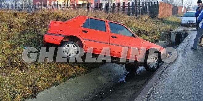 Un clujean a plonjat cu Dacia în șanț din cauza unui câine FOTO