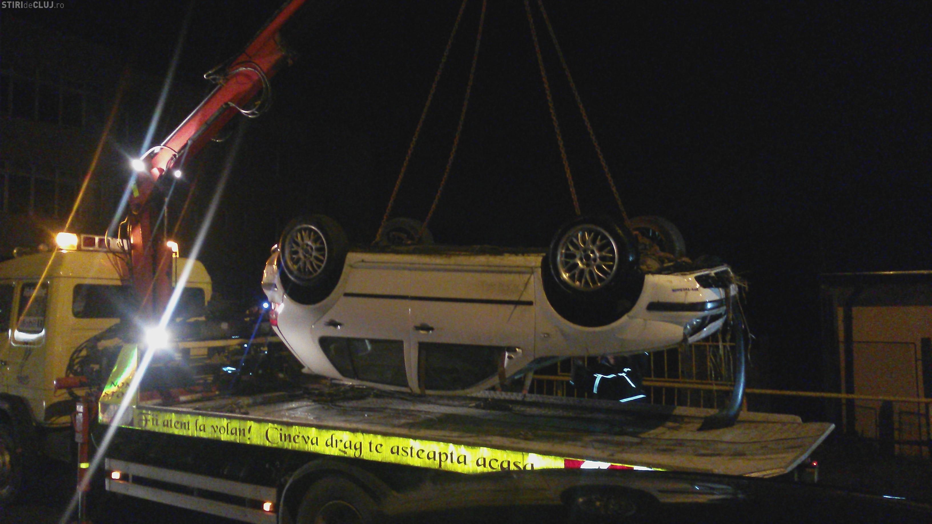 Accident SPECTACULOS la Cluj! A căzut cu mașina de pe un POD: S-a născut a doua oară - VIDEO