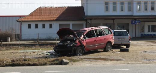 Accident la Jucu. O mașină s-a dat peste cap - FOTO