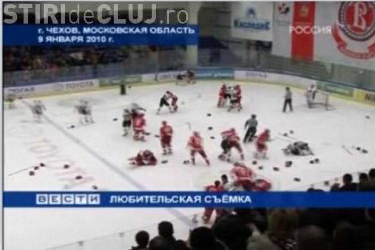 Bataie in toata regula la un meci de hochei din Rusia-VEZI VIDEO