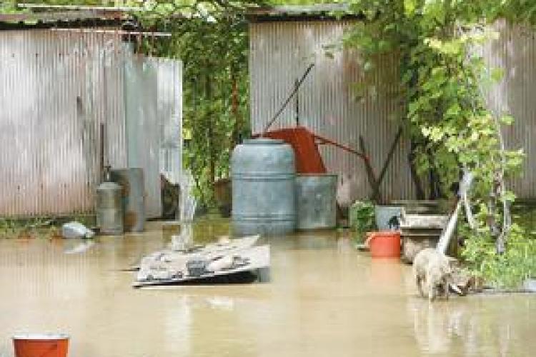 Cinci gospodarii si zeci de hectare de teren au fost inundate la Caseiu