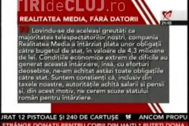 Realitatea TV  a cerut scuze statului roman pentru intarzierile de plati-Vezi VIDEO