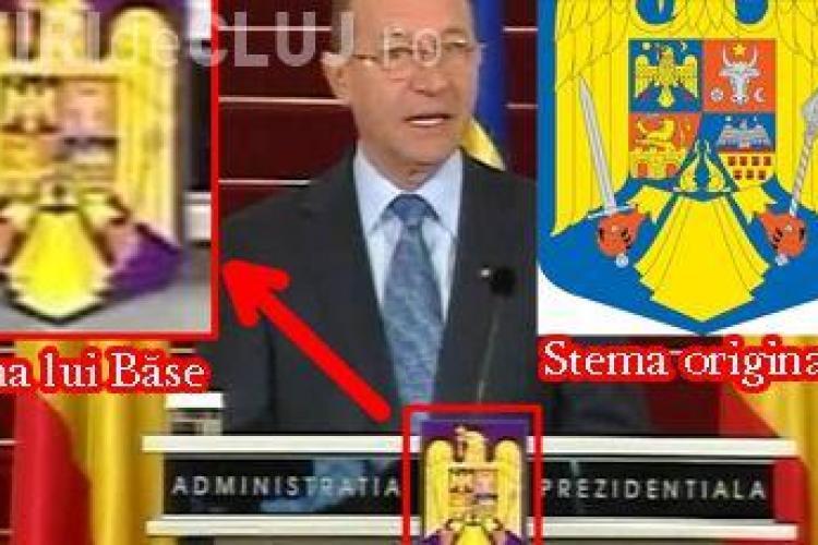 Basescu a schimbat culoarea de pe stema nationala din albastru in violet