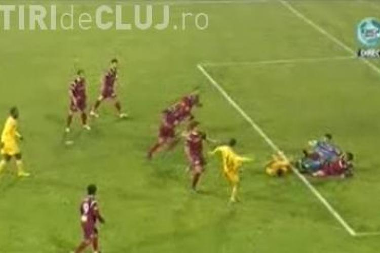 Burdujan a inscris in urma unei balbaieli din finalul meciului FC Vaslui - CFR Cluj - 5-3 / VIDEO
