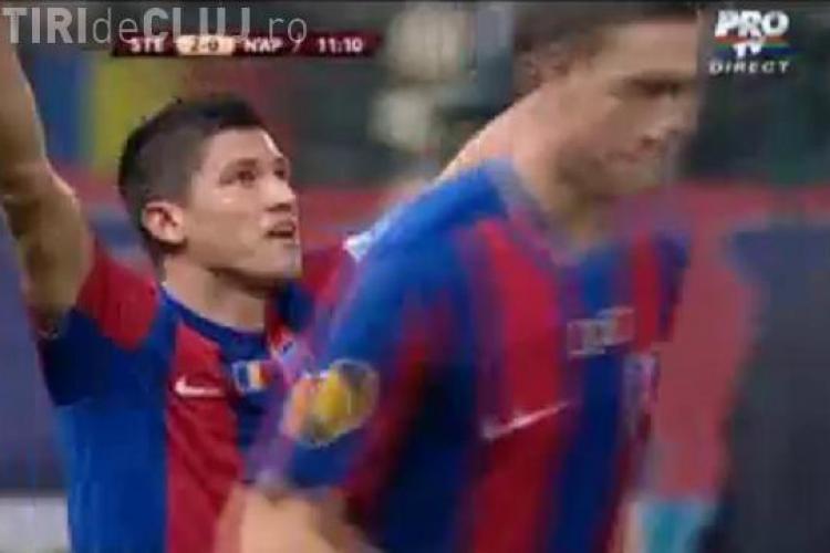 Gol Tanase, in minutul 10, de la peste 40 de metri! Steaua - Napoli 3-3 / VIDEO