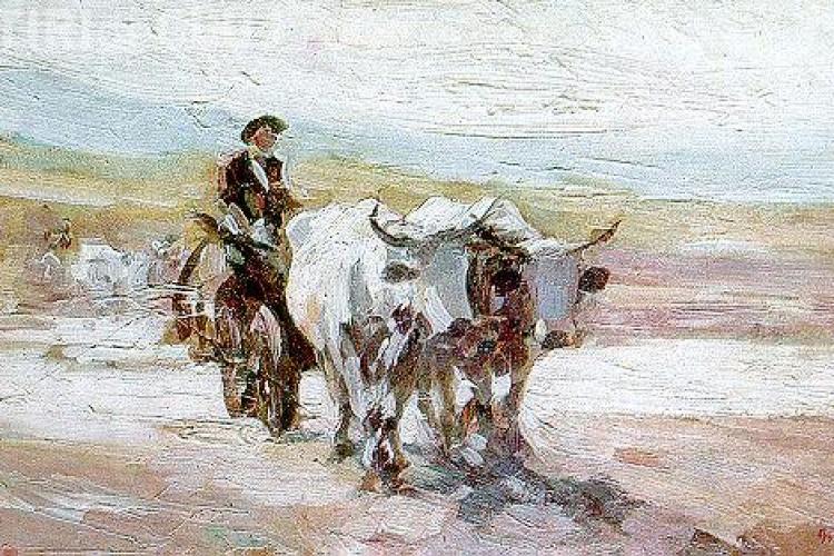 """""""Car cu boi"""" de Nicolae Grigorescu a fost vandut cu 155.000 de euro"""