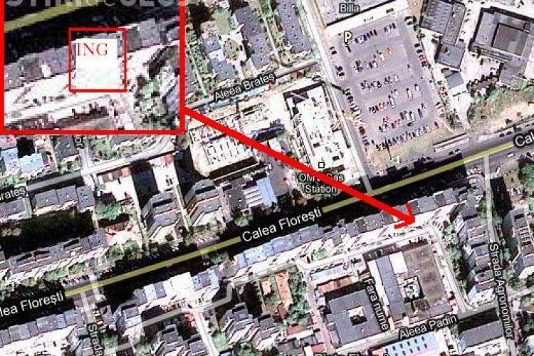 Sucursala ING Cluj sparta azi-noapte, pe Calea Floresti, este situata la parterul unui bloc
