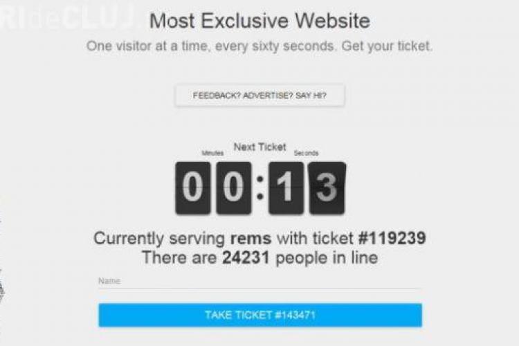 """Cel mai exclusivist site din lume. trebuie să aștepți """"la coadă"""" să intri pe el"""