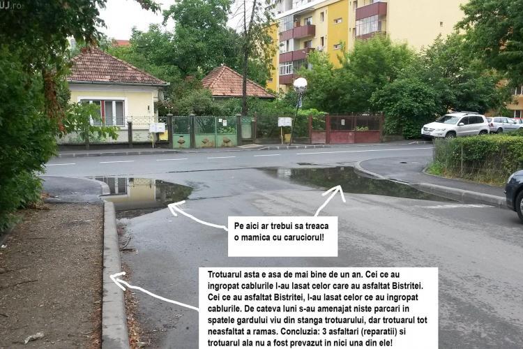 Probleme cu asfaltul pus pe strada Bistriței - FOTO
