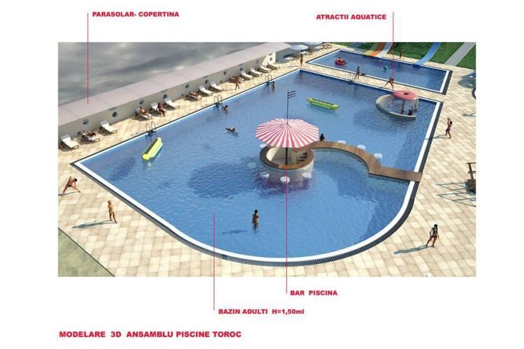Parcul Balnear Toroc de la Dej se modernizeaza. Cum vor arăta bazinele - FOTO