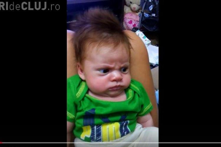 """Cel mai """"serios"""" bebelus de pe Facebook! Clip AMUZANT - VIDEO"""