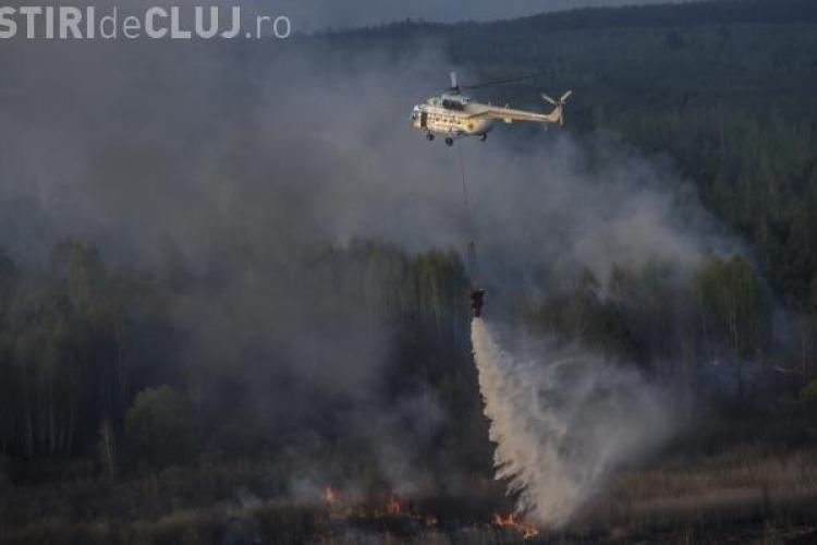INCENDIU de padure la Maguri Racatau. Au ars 6 hectare - VIDEO cu intervenția elicopterului