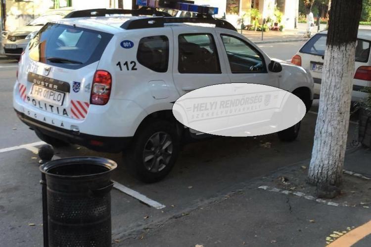 Mașina de Politie din Odorheiu Secuiesc inscriptionată cu RENDORSEG - FOTO