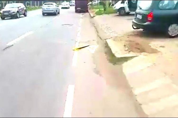 În ce hal arata pista de biciclete de pe strada Corneliu Coposu VIDEO