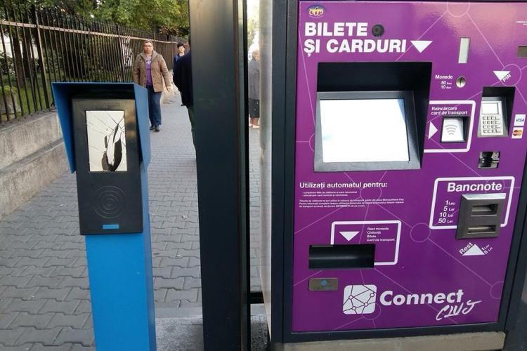 Un nou automat din sistemul de ticketing a fost spart la Cluj-Napoca - FOTO