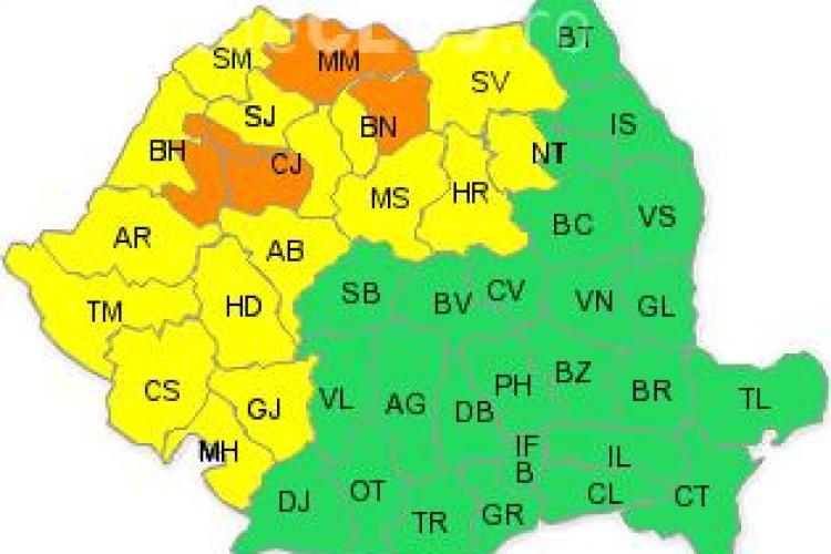 Clujul sub COD PORTOCALIU de vreme rea. Meteorologii anunță ploi torențiale și ninsori