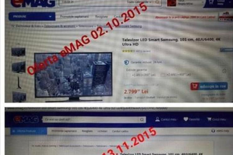 Un nou caz de creștere de preț la EMAG, chiar înainte de Black Friday / EMAG susține că e dezinformare - FOTO