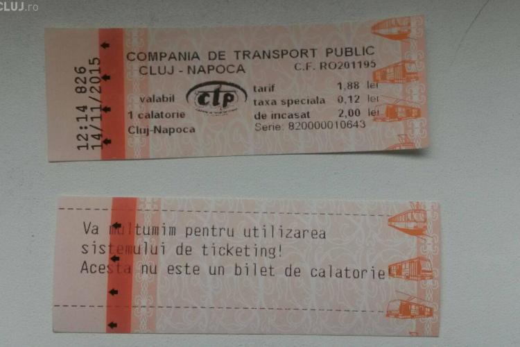CTP Cluj nu va mai elibera biletul suplimentar de mulțumire. Călătorii se plângeau că producea confuzie