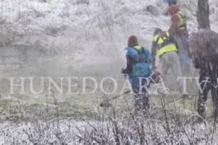 Angajaţii Primăriei tund iarba pe ninsoare - VIDEO