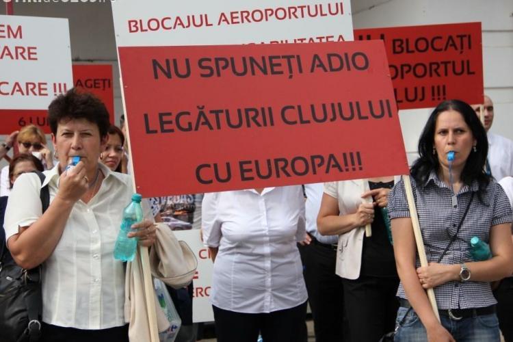 Protestul sindicatului de la Aeroportul Cluj este susținut de colegii lor din toată țara