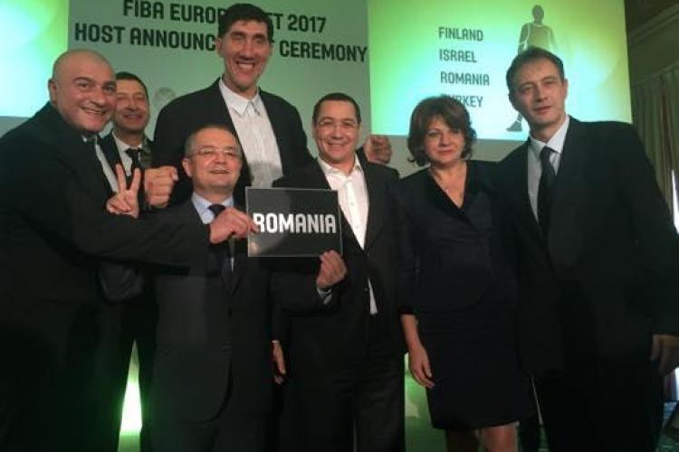 Clujul va găzdui meciuri de la EuroBasket 2017. Emil Boc, Ghiță Mureșan și Victor Ponta au susținut România - FOTO